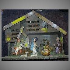 Old Italy Nativity Stable Holy Family Shepherd 2 Sheep Cow & Donkey Fine Religious Christmas Decoration