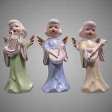 Set 3 Angels Figurines Musicians Singers Christmas Religious Wings