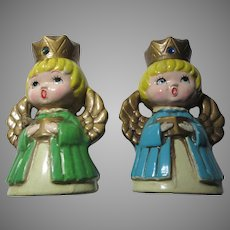 Pair Old Japan Paper Mache or Composite Angel Candleholders Carolers