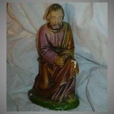 Old Large Nativity Figure Chalk Ware St Joseph Fine Christmas Religious Statue