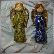 Set 2 Old Angel Christmas Figurines Japan
