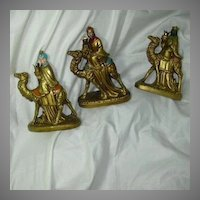Set 3 Old Japan Kings Or Wise Men & Camels Nativity Figures Candleholders Christmas