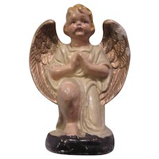Angel Paper Mache Nativity Figurine Gold Painted Wings Religious Christmas