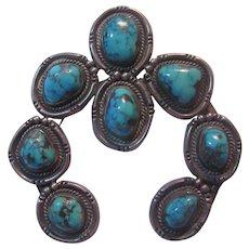 Native American Naja Squash Blossom Pendant Silver Turquoise