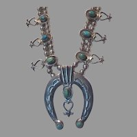 Native American Squash Blossom Necklace Silver Turquoise Sand Cast