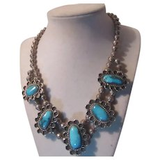 Native American Necklace Silver Turquoise Signed