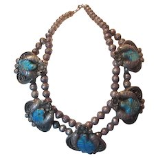 Native American Necklace Silver With Carved Turquoise