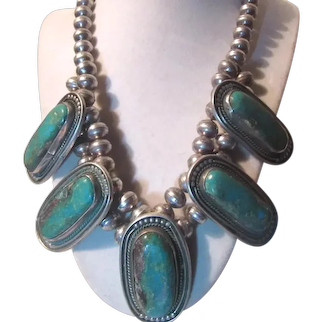 Native American Silver Turquoise Museum Quality Necklace