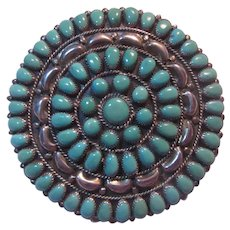 Native American  Brooch Pendant Silver Turquoise Signed