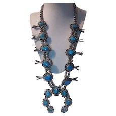 Native American Squash Blossom Necklace  Turquoise  Silver Signed