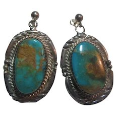 Native American Pierced Earrings Sterling Silver Turquoise Signed