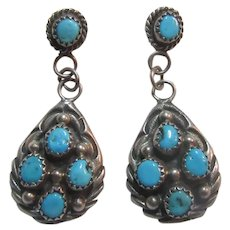 Native American Sterling Silver Turquoise Dangle Pierced Earrings Signed