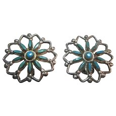 Native American Clip Earrings Sterling Silver Turquoise