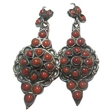 Fine Native American Pierced Earrings Sterling Silver Coral