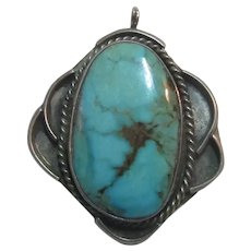 Native American Silver Turquoise Pendant