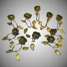 Set 10 Florentine Italian Gilt Roses Napkin Rings