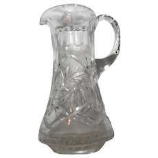 Hand Cut Crystal Glass Water Dining Pitcher Polish