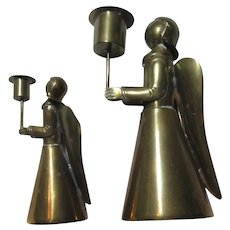 Set of Brass Angel Candle Holders Candlesticks Angels Figurines Christmas