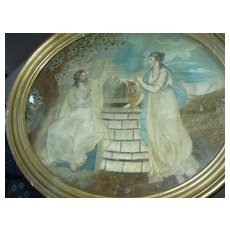 Antique Silk Embroidery Painting  Needlework Art Jesus & Samaritan Woman At The Well