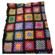 Black Hand Crochet Wool Afghan Granny Squares Coverlet Blanket