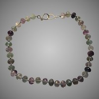Large Faceted Fluorite Gemstone Beads Necklace