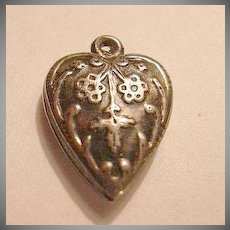Sterling Silver Heart Charm Flower or Snowflake Repousse From a Fine Collection of Puffy & Sterling Hearts