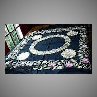 Old Piano Shawl Table Scarf Embroidered Pink Flowers Fringe Fine Vintage Textile Art