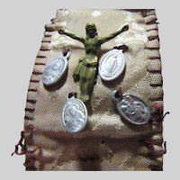Old Pocket Prayer Folder Medals Sacred Heart Jesus