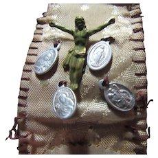 Old Pocket Prayer Folder Medals Sacred Heart Jesus
