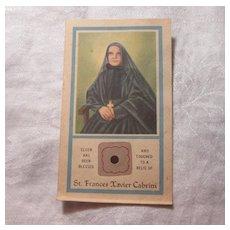 St Frances Xavier Cabrini Paper Reliquary