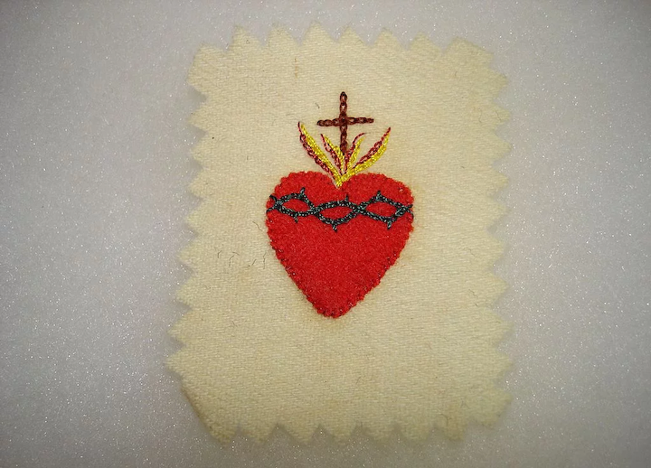 Old hand sewn embroidered sacred heart reliquary nun estate