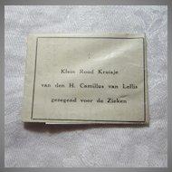 Camillus Van Lellis Paper Reliquary Red Cross