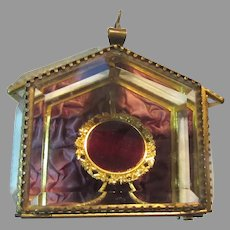 Antique Beveled Glass Jewelry Medal Reliquary Display Box Casket Case