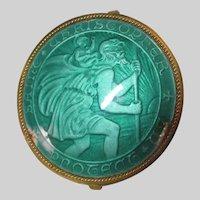 Green Enamel St Christopher Travelers Medal Medallion