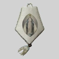 Old Agnus Dei In Virgin Mary Satin Holder Reliquary