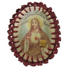 Old Jesus Sacred Heart Medallion With Agnus Dei & Medal