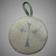 Old Satin Encased Agnus Dei Sacramental Reliquary