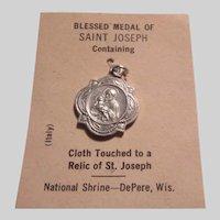 Nice Reliquary Medal St Joseph Original Card Blessed Sacramental