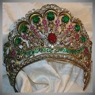 Old Italian Jeweled Crown For Santo Saint Virgin Mary Statue