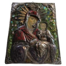 Russian Icon Mary & Infant Jesus Painted on Wood & Enamel & Ornate Metalwork & Crown Fine Christian Religious Art