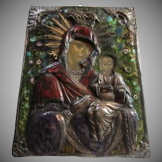 Antique Russian Icon Mary & Infant Jesus Painted on Wood & Enamel & Ornate Metalwork & Crown Fine Christian Religious Art