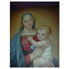 Madonna & Child Virgin Mary & Jesus Old Catholic Print Fine Religious Christianity Art