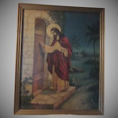 Jesus Knocking at the Door Religious Framed Print
