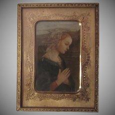 Mary Adoration Print Ornate Gold Metal Mat Frame Religious Art