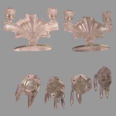 Art Deco Glass Pair Double Candleholders