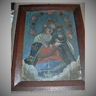 Madonna & Child Virgin Mary Infant Jesus Painting On Tin Retablo Fine Religious Art