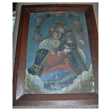 Madonna & Child Virgin Mary Infant Jesus Painting On Tin Retablo Fine Religious Art