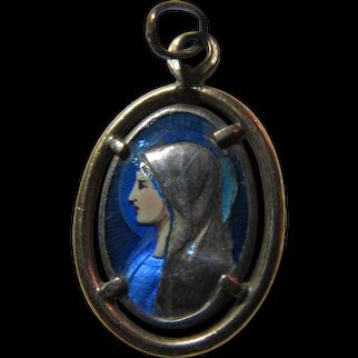 Virgin Mary Fine Enamel Medal Our Lady of Lourdes St Bernadette