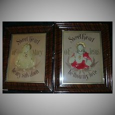 German Paper Punch & Embroidery Jesus  & Mary Sacred & Immaculate Heart Icon  House Blessing Framed Catholic Christianity Religious Art