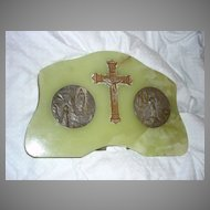 Virgin Mary Our Lady Lourdes Marble Medals & Crucifix Altar House Blessing Icon